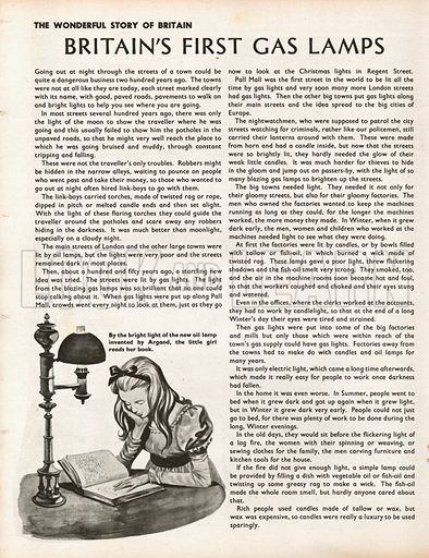 The Wonderful Story of Britain: Britain's First Gas Lamps. By the light of her new oil-lamp, invented by Argand, a girl reads her book.