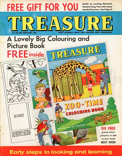 Advertising a free colouring book inside Treasure called Zoo-Time.