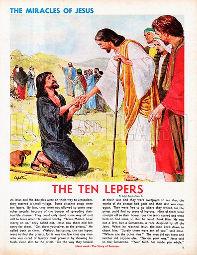 The Miracles of Jesus: The Ten Lepers from St Luke's Gospel in The Bible.