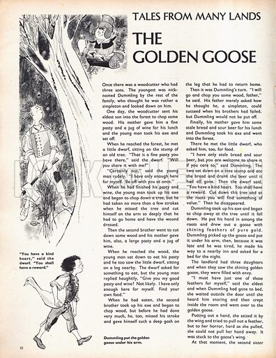 Scenes from the fairy-tale The Golden Goose by the Brothers Grimm.