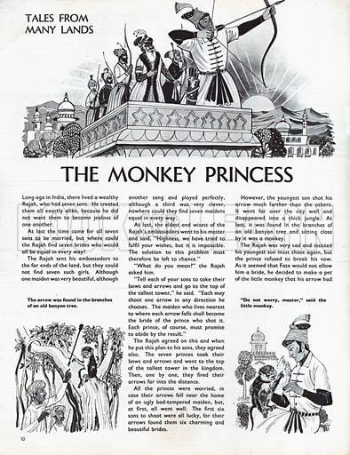 Scenes from The Monkey Princess, a folk-tale from India.