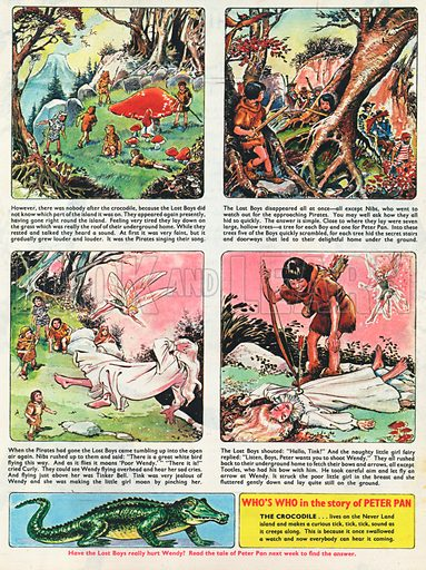 Peter Pan by J M Barrie serialised in strip form with captions.