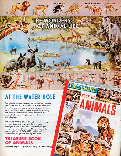 Treasure Book of Animals advertisement with spread entitled At the Water Hole.