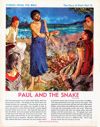 The story of Paul retold, taken from The Acts of the Apostles in The Bible: Paul and the snake.