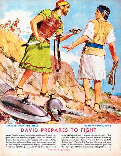 The Story of David retold from the First Book of Samuel in the Bible: David Prepares to Fight.
