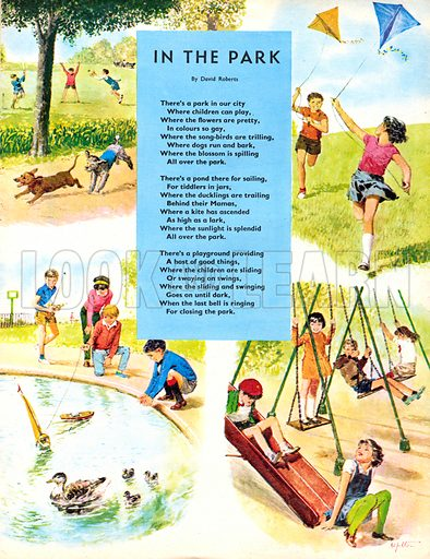 In the Park. Poem by David Roberts. Fun and games at the local park.