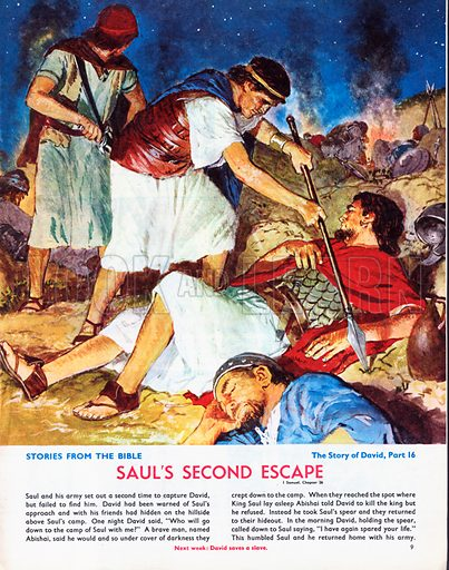 The Story of David retold from the First Book of Samuel in the Bible: Saul's Second Escape.