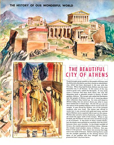 The History of Our Wonderful World: The Beautiful City of Athens. The statue of the goddess Athena in the Parthenon temple.