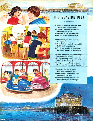The Seaside Pier. Poem by David Roberts. Playing games and in dodgem cars on a pier.