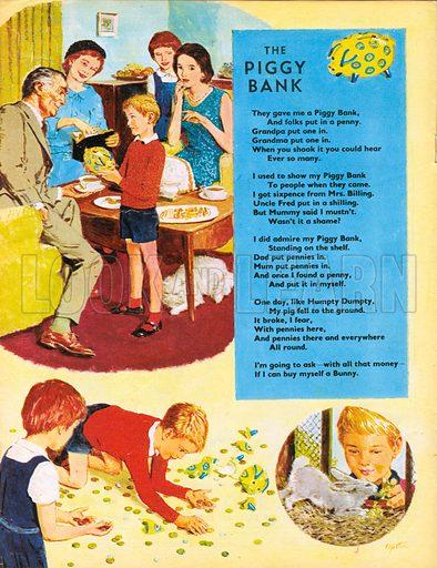 The Piggy Bank. Poem. Saving money to buy a bunny.