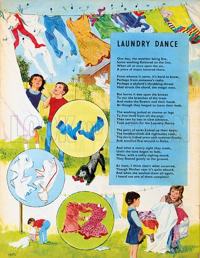 Laundry Dance. Poem. Laundry dancing on a washing line.