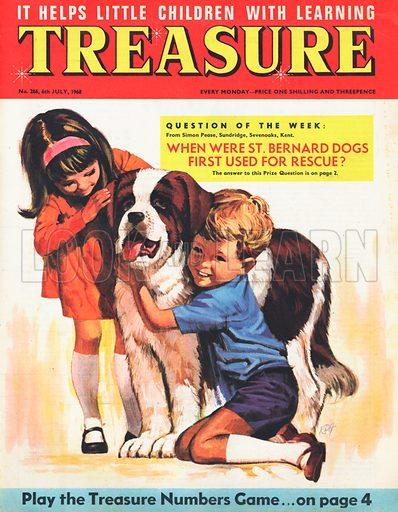 A boy and girl hugging a St Bernard dog.