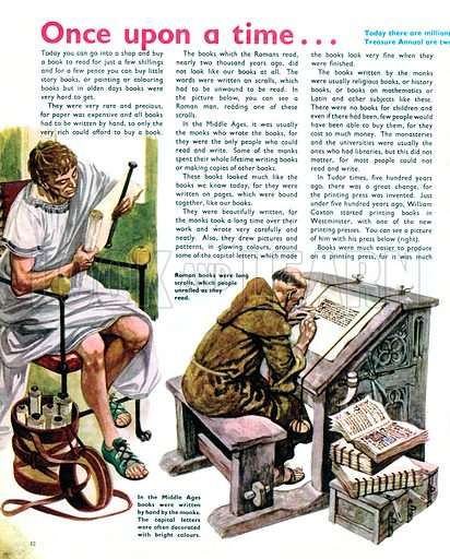Once Upon a Time... how books were made many years ago. From Treasure no. 299.