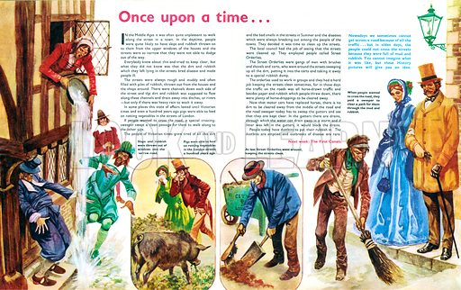 Once Upon a Time... street cleaning in the middle ages. From Treasure no. 311.