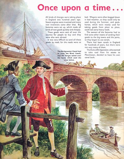 Once Upon a Time... Building a bridge for boats to cross a river. The Bridgewater Canal crosses the River Irwell.