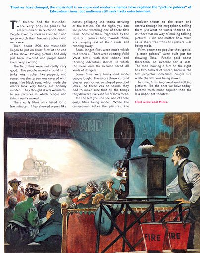 Once Upon a Time… the development of the cinema. Early audiences of films were startled from their seats when they saw a train coming directly towards them. From Treasure no. 316.