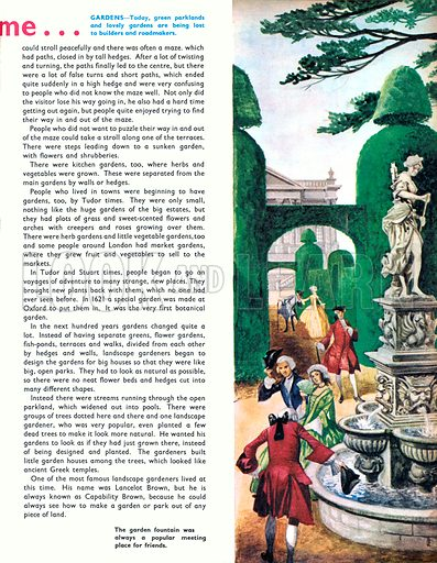 Once Upon a Time… a stroll around the Tudor garden. The garden fountain was always a popular meeting place for friends. From Treasure no. 318.