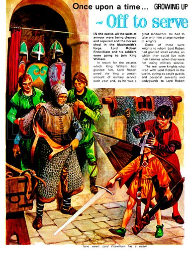 Growing Up in Norman England: Off to Serve the King. Knights and Lords of King William's realm were required to dedicate six weeks of the year to fighting for the King and two months in times of war. From Treaure no. 333.