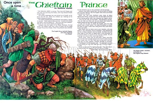 Once Upon a Time: The Chieftain Prince. The English Army leave Chester and march on Wales under the banner of King Edward; (top right) The Welsh leader, Llewelyn, surrenders to King Edward.