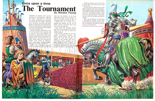 Once Upon a Time... The Tournament. Knights gathered to joust and take part in other entertainments. From Treasure no. 356.