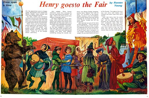 Once Upon a Time... Henry Goes to the Fair. A village fair including a dancing bear, music, fire-eating, a salesman  and other entertainments. From Treasure no. 360.