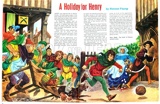 One Upon a Time... A Holiday for Henry. A day off from sewing gloves meant a day playing football in the street for hard-working apprentices. From Treasure no. 361.