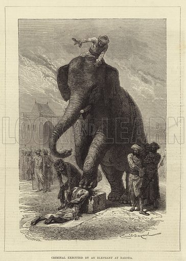 Criminal executed by an elephant at Baroda. Illustration for The Illustrated Sporting and Dramatic News, published on 4 December 1875.