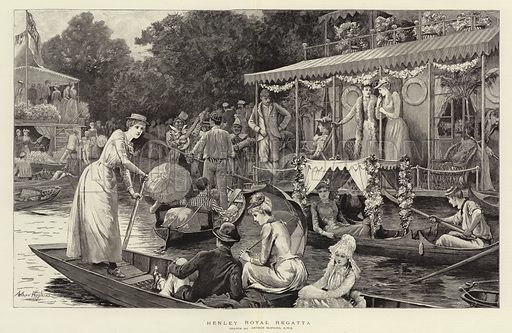 Henley Royal Regatta. Illustration for The Graphic, 18 July 1891.
