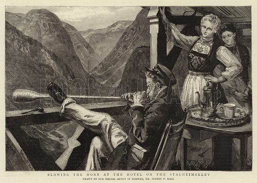 Blowing the Horn at the Hotel on the Stalheimsklev. Illustration for The Graphic, 8 August 1891.