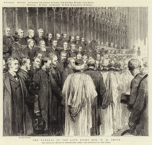 The Funeral of the Late Right Honourable W H Smith, the Memorial Service in Westminster Abbey, the Procession of the Clergy. Illustration for The Graphic, 17 October 1891.