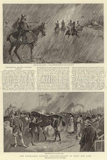 The Newmarket October Meeting, Racing in Wind and Rain. Illustration for The Graphic, 24 October 1891.