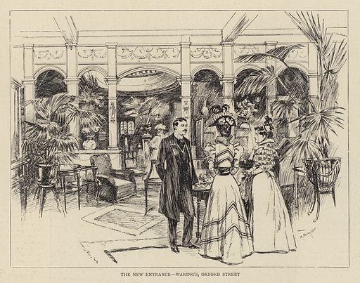 The New Entrance, Waring's, Oxford Street. Illustration for The Graphic, 28 June 1897.