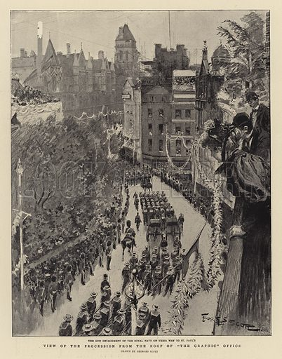"View of the Procession from the Roof of the ""The Graphic"" Office. Illustration for The Graphic, 28 June 1897."