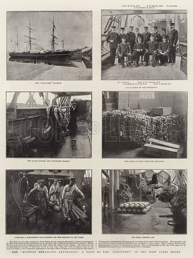 """The National Antarctic Expedition, a Visit to the """"Discovery"""" in the East India Docks. Illustration for The Graphic, 3 August 1901."""