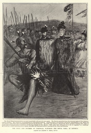 The Duke and Duchess of Cornwall watching the Royal Haka at Rotorua. Illustration for The Graphic, 31 August 1901.