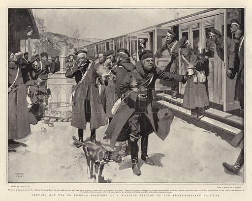 Serving out Tea to Russian Soldiers at a Wayside Station on the Transsiberian Railway. Illustration for The Graphic, 31 August 1901.