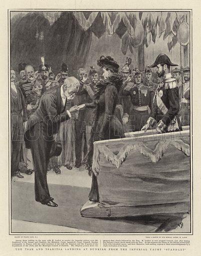 "The Tsar and Tsaritsa landing at Dunkirk from the Imperial Yacht ""Standart"". Illustration for The Graphic, 28 September 1901."