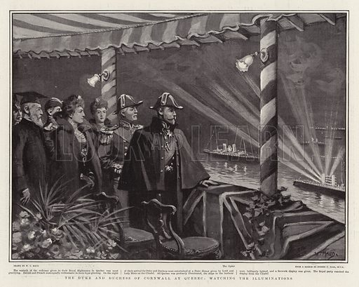The Duke and Duchess of Cornwall at Quebec, watching the Illuminations. Illustration for The Graphic, 12 October 1901.
