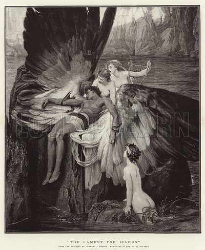 """The Lament for Icarus"". Illustration for The Graphic, 1901."