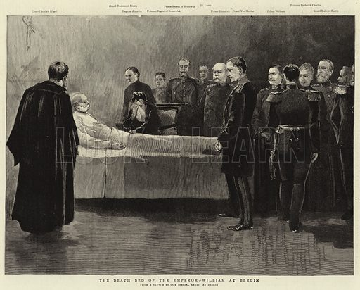The Death Bed of the Emperor William at Berlin. Illustration for The Graphic, 17 March 1888.