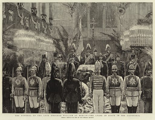 The Funeral of the Late Emperor William at Berlin, the Lying in State in the Cathedral. Illustration for The Graphic, 24 March 1888.