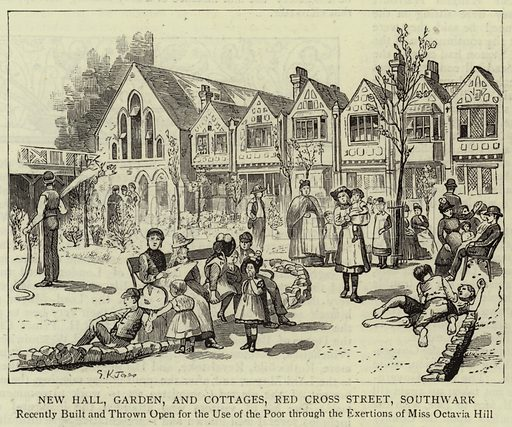 New Hall, Garden, and Cottages, Red Cross Street, Southwark. Illustration for The Graphic, 30 June 1888.