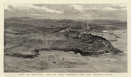 View of Douglas, Isle of Man, showing the New Marine Drive. Illustration for The Graphic, 12 July 1890.