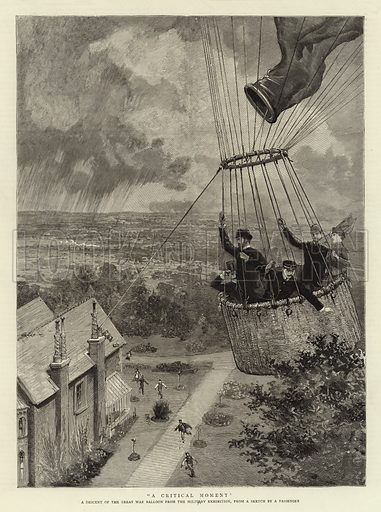 """""""A Critical Moment"""", a Descent of the Great War Balloon from the Military Exhibition. Illustration for The Graphic, 19 July 1890."""