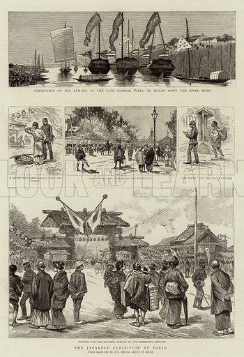The Japanese Exhibition at Tokio. Illustration for The Graphic, 16 August 1890.