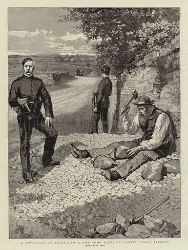 A Boycotted Stonebreaker, a Road-Side Scene in County Clare, Ireland. Illustration for The Graphic, 6 December 1890.