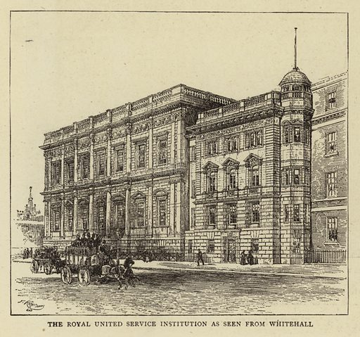 The Royal United Service Institution as seen from Whitehall. Illustration for The Graphic, 1893.