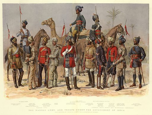 The Madras Army, and Troops under the Government of India. Illustration for The Graphic, 1893.