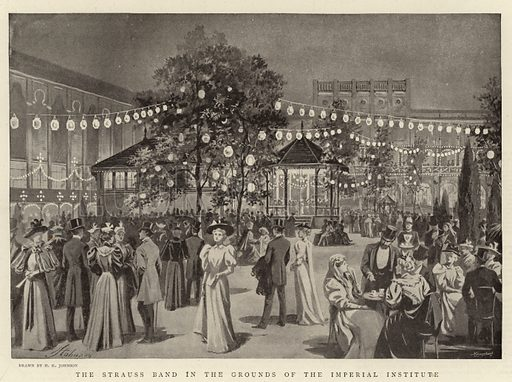 The Strauss Band in the Grounds of the Imperial Institute. Illustration for The Graphic, 25 May 1895.