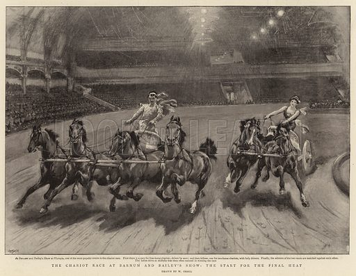 The Chariot Race at Barnum and Bailey's Show, the start for the Final Heat. Illustration for The Graphic, 12 February 1898.